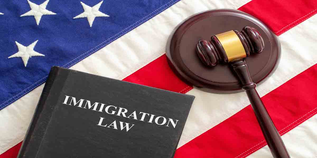 Immigration Cases Delayed? Advice from an Immigration Lawyer judge gavel and immigration law book on united sta 5Z2EYE3